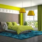 Modern bedroom with green color bed & curtains