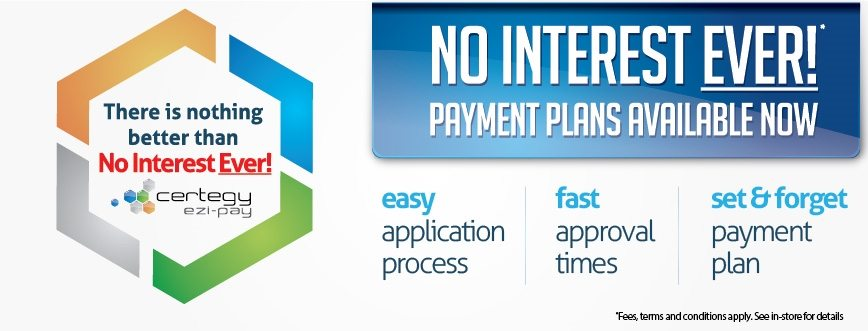 No interest ever banner for certegy ezi pay