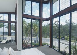 Interior of a duplex house with louvre style aluminium windows