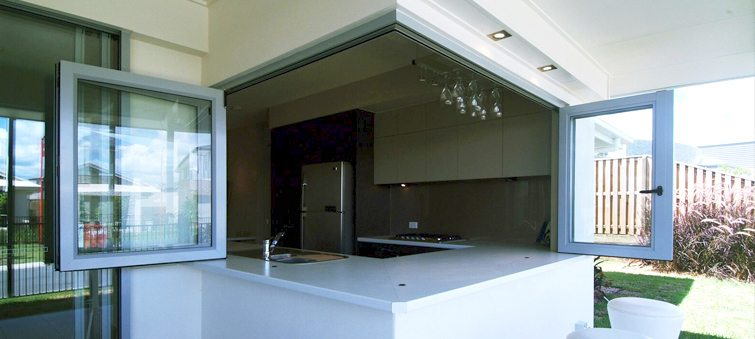 Corner installed open bi-fold windows in the kitchen area