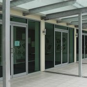 Outside view of aluminium doors and windows on a commercial building