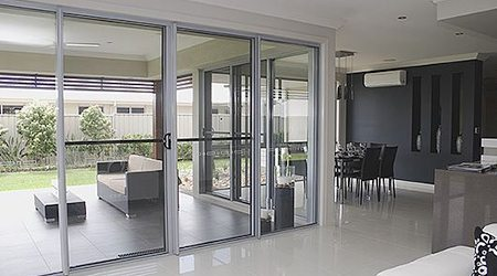 White frame sliding door in a house